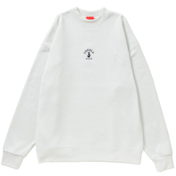 画像1: EMBROIDERY BONG MOCK NECK SWEAT (VANILLA WHITE)