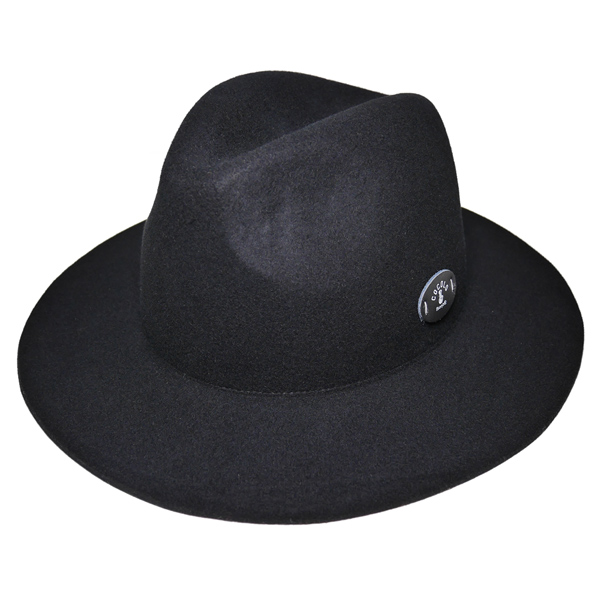 画像1: BONG WAPPEN WOOL BRIM HAT (BLACK)