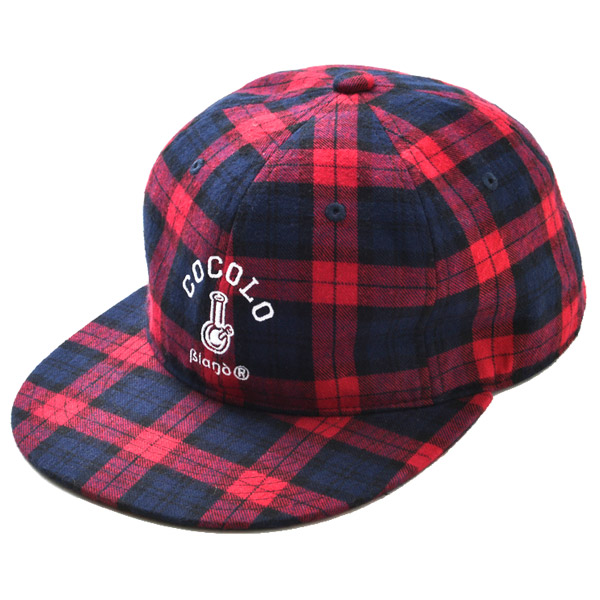 画像1: TARTAN CHECK 6 PANEL CAP (RED)