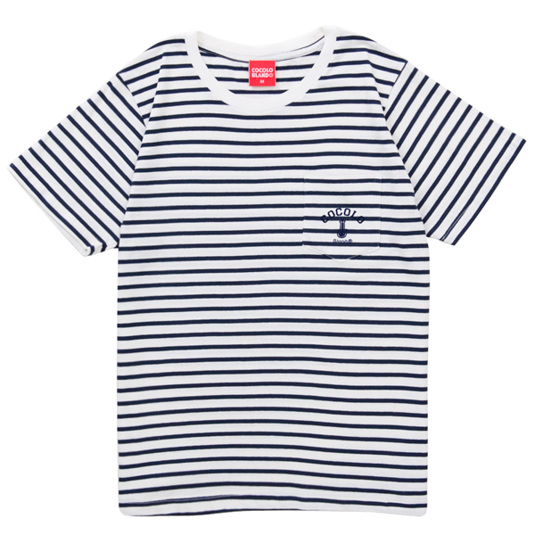 画像1: FLOCKY BORDER POCKET S/S Tee (NAVY)