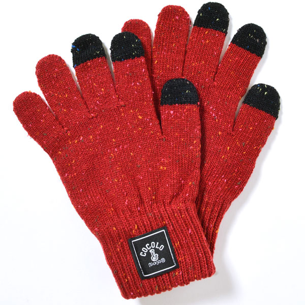 画像1: SQUARE LOGO NEP KNIT GLOVE (RED) [For Smart Phone] (1)