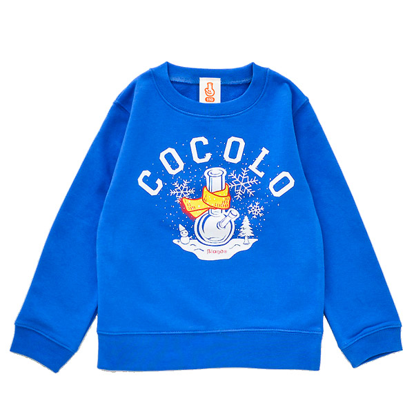 画像1: KIDS WINTER BONG CREWNECK SWEAT (BLUE) (1)
