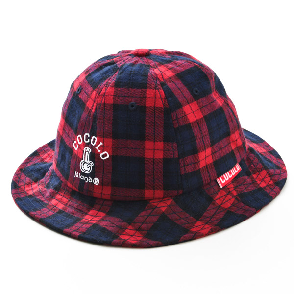 画像1: TARTAN CHECK METRO HAT (RED) (1)
