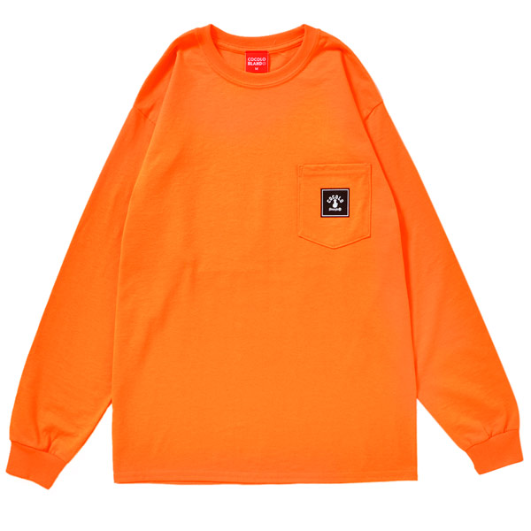 画像1: SQUARE LOGO POCKET L/S TEE  (ORANGE)