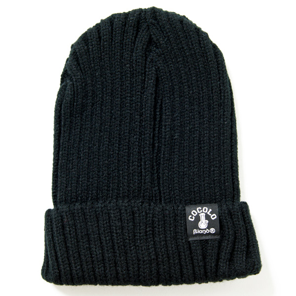 画像1: FAT RIBBED BEANIE (BLACK)