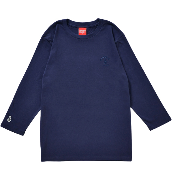画像1: BONG EMBROIDERY 3/4 SLEEVE TEE (NAVY)