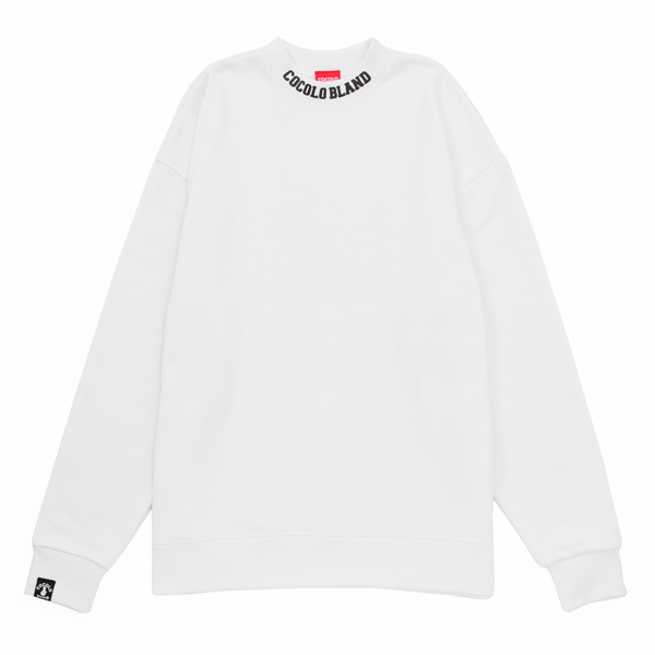 画像1: RIB PRINT MOCK NECK SWEAT (VANILLA WHITE) (1)