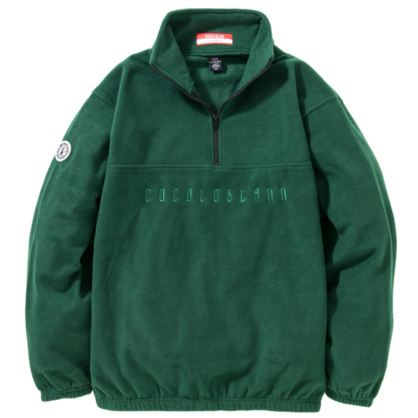 画像1: EMBROIDERY FLEECE HALF ZIP (GREEN) (1)