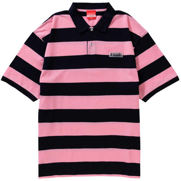 画像1: WAPPEN BORDER POLO(PINK/NAVY) (1)