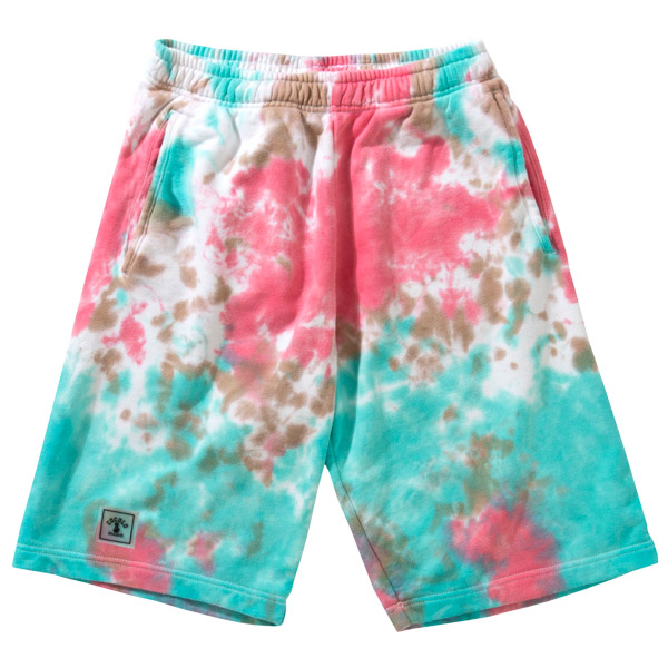 画像1: WAPPEN TIE-DYE SWEAT SHORTS (PINK) (1)