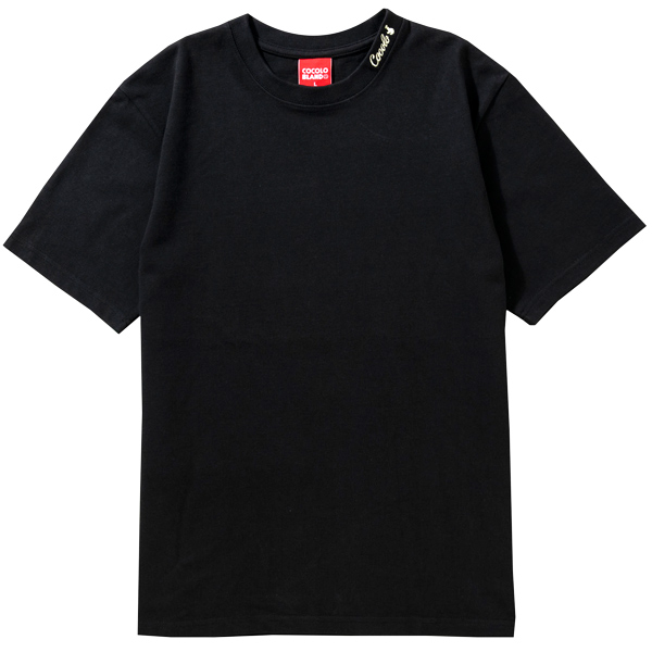 画像1: RIB EMBROIDERY HEAVY TEE(BLACK) (1)