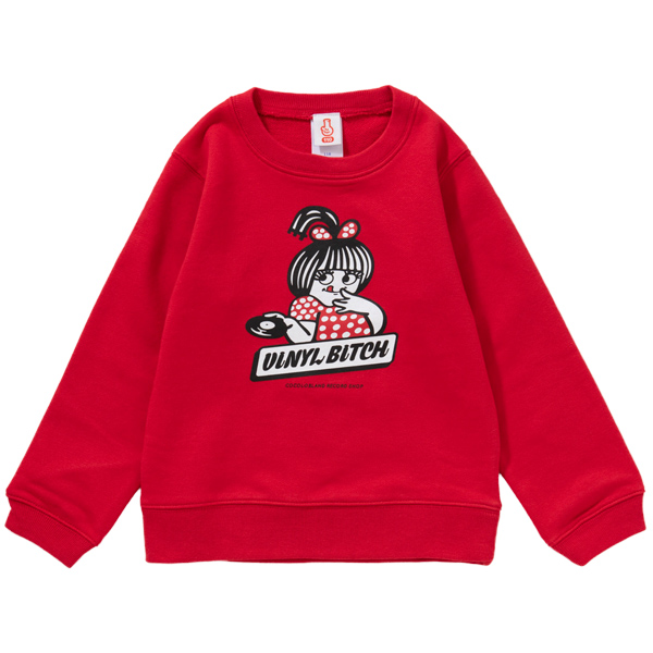 画像1: VINYL BITCH HOT WAX KIDS CREWNECK SWEAT (RED) (1)