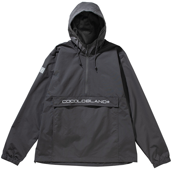 画像1: EMBROIDERY ANORAK NYLON HOOD (GRAY) (1)