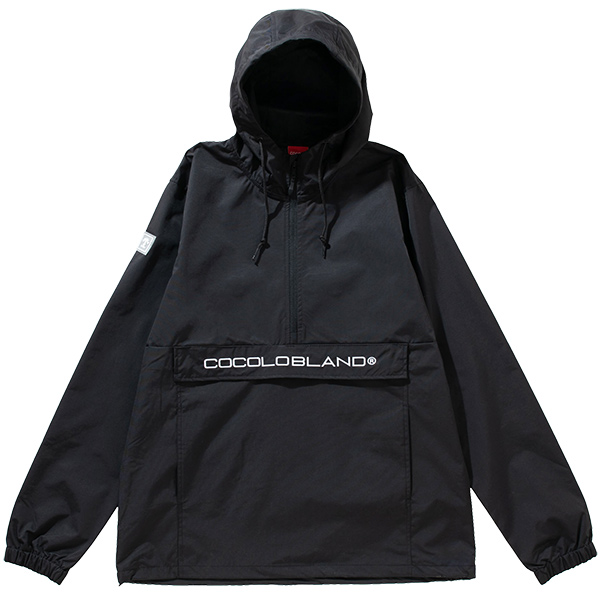 画像1: EMBROIDERY ANORAK NYLON HOOD (BLACK) (1)