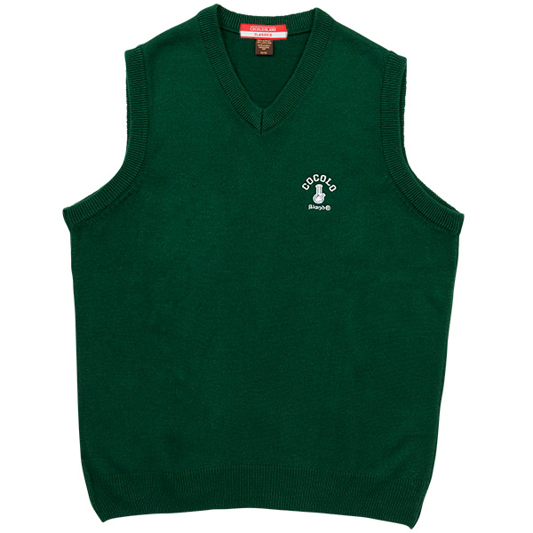 画像1: BONG EMBROIDERY KNIT VEST (GREEN) (1)