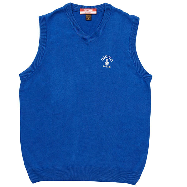 画像1: BONG EMBROIDERY KNIT VEST (BLUE) (1)