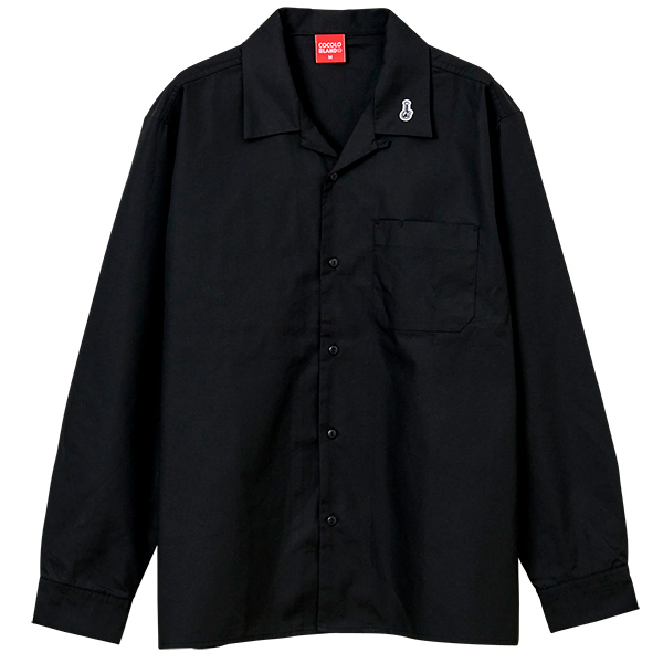 画像1: EMBOROIDERY BONG OPEN COLOR L/S SHIRTS (BLACK) (1)