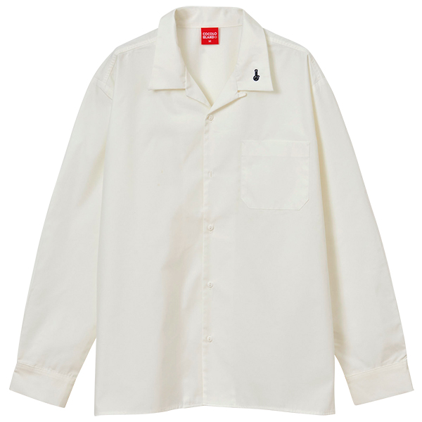 画像1: SALE !! EMBOROIDERY BONG OPEN COLOR L/S SHIRTS (OFF WHITE) (1)