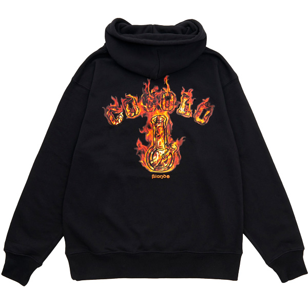 画像1: FIRE BONG HOOD  (ORANGE FIRE / BLACK ) (1)