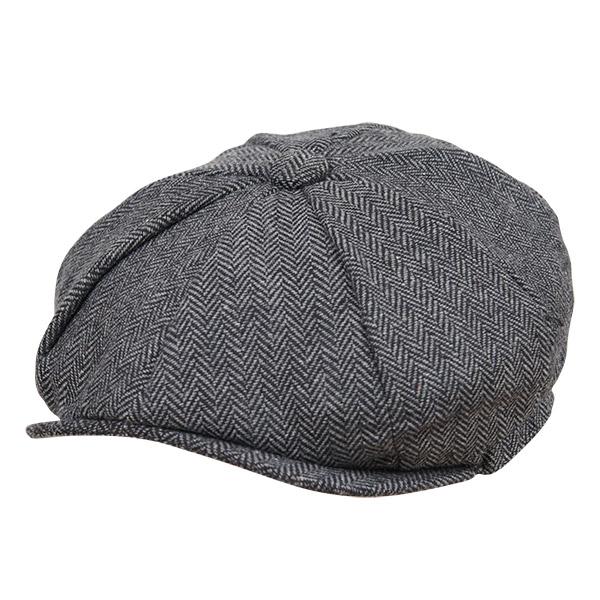 画像1: HERRING BONE CASQUETTE CAP (CHARCOAL) (1)
